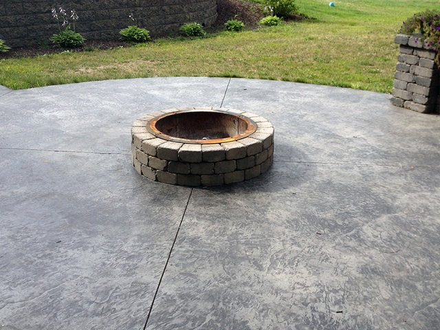 Summit Stone Firepit on Stamped and Colored Concrete
