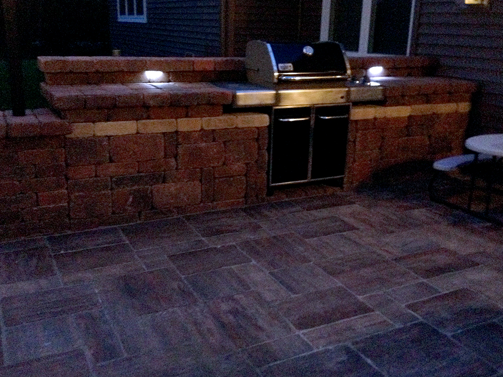 Outdoor Kitchen With LED Lighting